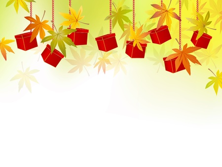 fall leaves on white: Fall background - autumn leaves and packages - season sale concept - vector illustration Illustration