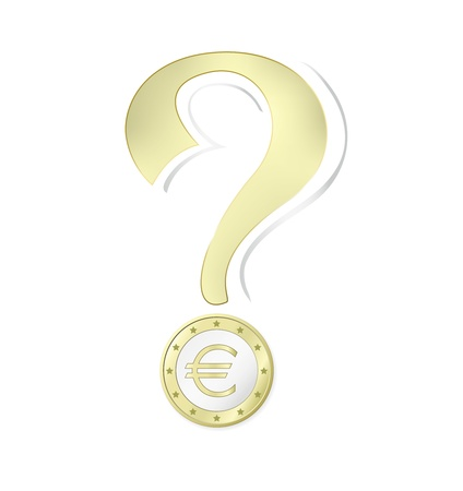 Euro coin - money concept with question mark against white background - vector illustration Stock Vector - 10972298