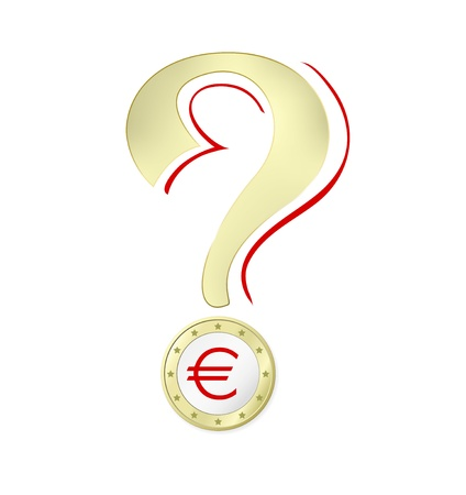 Euro crisis - Euro coin with Euro sign against white background - vector illustration Vector