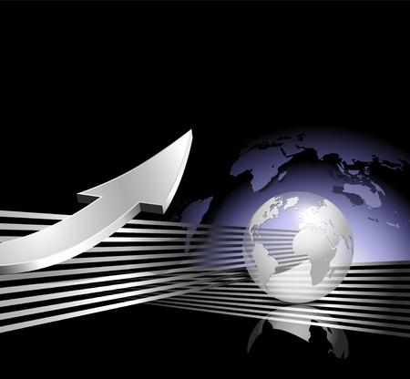 Carte du monde, du globe et flèches - fond d'affaires - concept de communication globale - illustration vectorielle