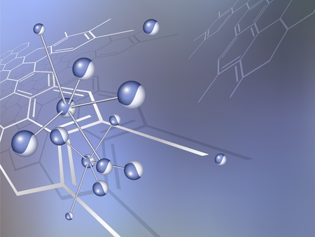 biotecnologia: Estructura de la mol�cula de fondo de con la f�rmula qu�mica abstracta - dise�o m�dico azul - ilustraci�n vectorial