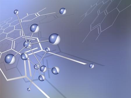 atomique: Motif de fond Molecule structure avec la formule chimique abstraite - bleu design m�dical - illustration vectorielle Illustration
