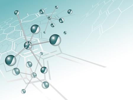 Molécula de fondo la estructura con la fórmula química de la luz verde con fondo azul degradado a blanco - tarjeta vector médica Ilustración de vector