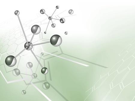 Molécula de fondo la estructura con la fórmula química contra el telón de fondo verde, azul, con un gradiente de blanco - modelo médico - ilustración vectorial