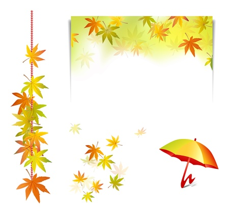 Autumn set background elements - collection of fall leaves with umbrella and notepad - vector illustration Vector