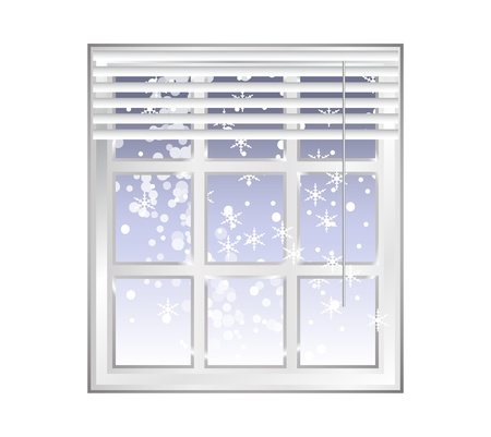 blind: Winter - window with blue sky background and snowflakes - wintertime design - vector illustration