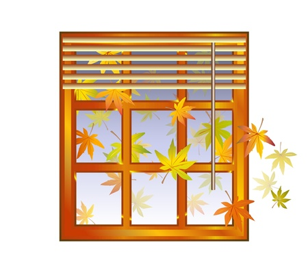 blinds: Autumn - window with jalousie and fall leaves and blue sky background - season element - vector illustration Illustration