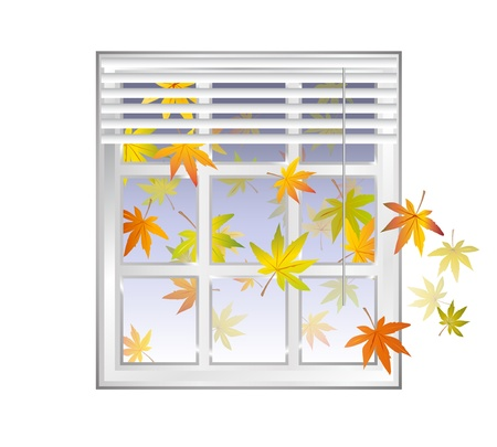 Fall season - window with autumn leaves and blue sky background - vector illustration Vector