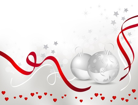 Christmas background with light silver grey to white backdrop gradient, shiny red ribbons and Christmas balls - vector illustration Vector