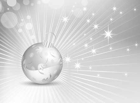 Silver grey Christmas background with shiny rays and Christmas ball - vector illustration Vector