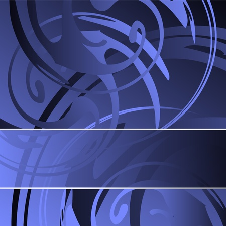 stylish decoration: Blue abstract background with shiny swirls and banner - abstract greeting card and cover design - vector illustration