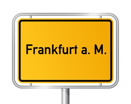frankfurt: City limit sign FRANKFURT AM MAIN against white background - vector illustration Illustration