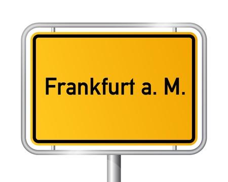 City limit sign FRANKFURT AM MAIN against white background - vector illustration