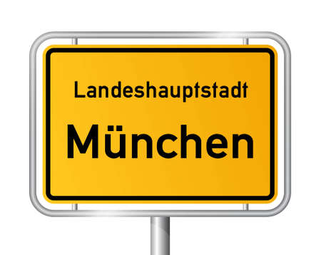 main entrance: City limit sign MUNICH against white background - vector illustration Illustration