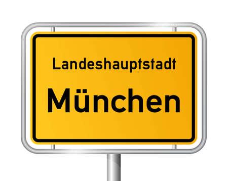 ortseingangsschild: Ortsschild M�nchen gegen wei�en Hintergrund - Vektor-Illustration