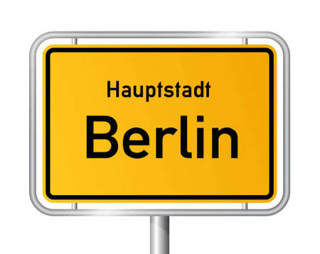main entrance: City limit sign BERLIN against white background - vector illustration