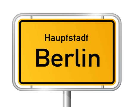 ortseingangsschild: Ortsschild BERLIN vor wei�em Hintergrund - Vektor-Illustration