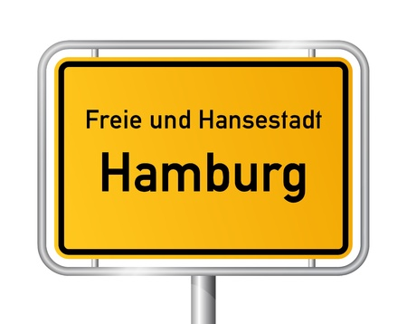 main entrance: City limit sign HAMBURG against white background - vector illustration