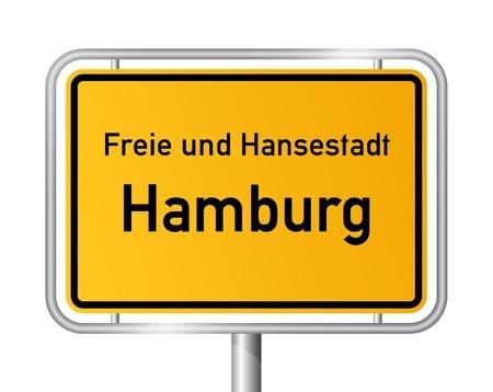 ortseingangsschild: Ortsschild Hamburg gegen wei�en Hintergrund - Vektor-Illustration