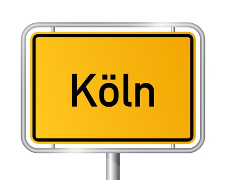 rhine westphalia: City limit sign COLOGNE  K�LN against white background - federal state of North Rhine Westphalia  Nordrhein Westfalen - vector illustration Illustration
