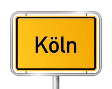 ortseingangsschild: Ortseingangsschild KÖLN  KLN vor weißem Hintergrund - Bundesland Nordrhein-Westfalen  Nordrhein Westfalen - Vektor-Illustration
