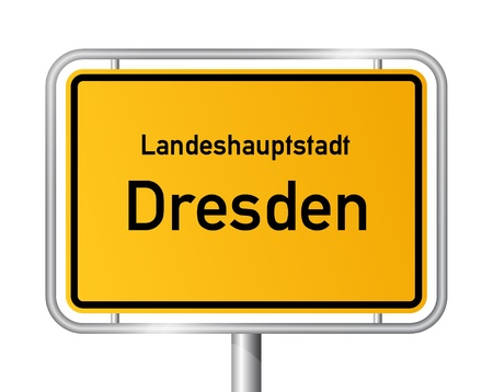 entrance sign: City limit sign DRESDEN against white background - federal state of Saxony  Sachsen - vector illustration