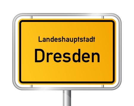 ortseingangsschild: Ortseingangsschild DRESDEN vor weißem Hintergrund - Bundesland Sachsen  Sachsen - Vektor-Illustration Illustration