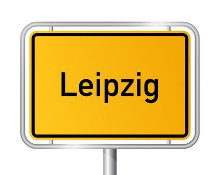 ortseingangsschild: Ortseingangsschild LEIPZIG vor weißem Hintergrund - Bundesland Sachsen  Sachsen - Vektor-Illustration