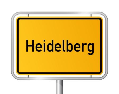 ortseingangsschild: Ortseingangsschild HEIDELBERG vor weißem Hintergrund - Bundesland Baden-Württemberg - Vektor-Illustration Illustration