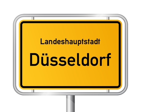 rhine westphalia: City limit sign DUSSELDORF  D�SSELDORF against white background - federal state of North Rhine Westphalia  Nordrhein Westfalen - vector illustration