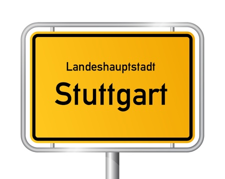 ortseingangsschild: Ortseingangsschild STUTTGART gegen wei�en Hintergrund - Bundesland Baden-W�rttemberg - Vektor-Illustration