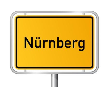 City limit sign NUREMBERG / NÜRNBERG against white background - federal state of Bavaria - vector illustration Illustration