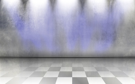 Grunge background wall with tiled floor - abstract grey interior room design with shiny white and blue spot light photo
