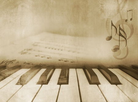 fortepian: Grunge muzyczne tło - klawisze fortepianu i nuty - Vintage Design w sepii