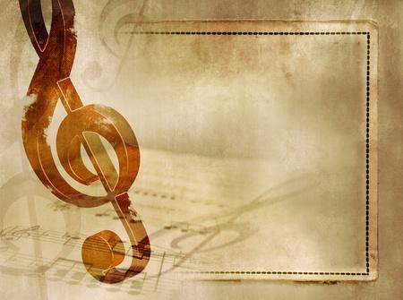 musik hintergrund: Hintergrund Musik im Vintage-Stil - Noten mit h�lzernen Violinschl�ssel und Noten auf alte Papier Textur mit Rahmen - k�nstlerische musikalische Grunge-Design Lizenzfreie Bilder