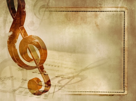treble: Music background in vintage style - sheet music with wooden treble clef and notes on old paper texture with frame - artistic musical grunge design Stock Photo