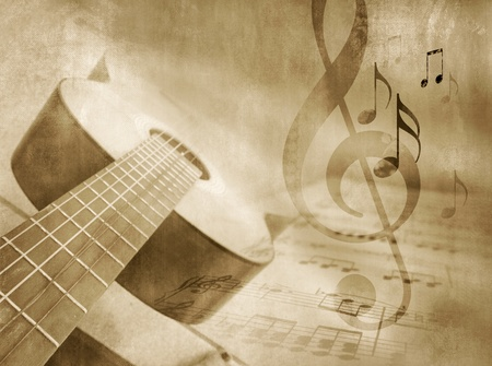 music instrument: Grunge music background with guitar, sheet music and notes - musical event template in vintage style