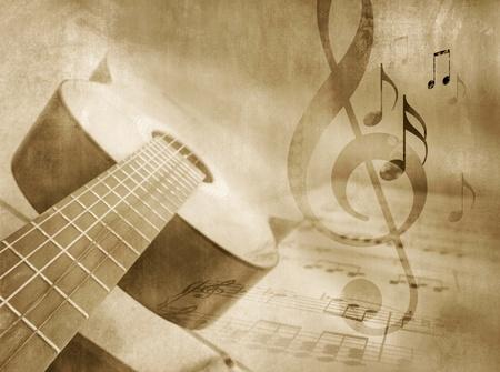note musicali: Grunge sfondo musicale con spartiti per chitarra, e le note - template evento musicale in stile vintage
