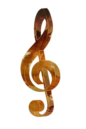 3d treble clef in vintage style with elegant wooden texture against white background - grunge music design element photo