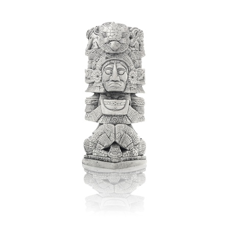 deities: Mayan artifact from Mexico isolated against white background including clipping path Stock Photo