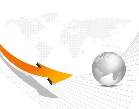 curved line: Business arrow and globe and world map against white background Illustration