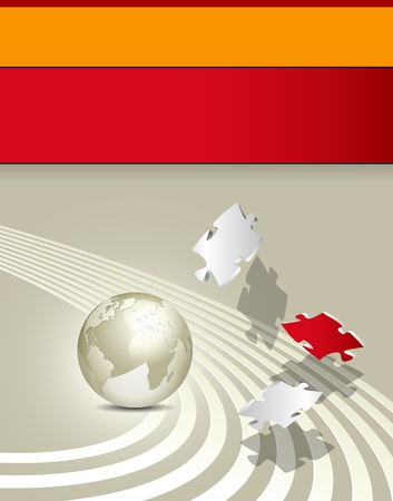puzzle globe: Business brochure - corporate background design - advertising template Illustration