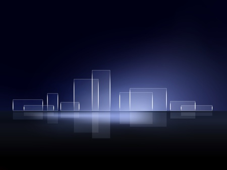 horizon reflection: Abstract background city skyline Illustration