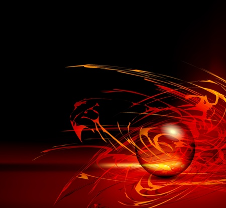 Abstract red background horizon - fire template with sphere Vector