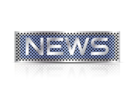 breaking news: News advertising metal plate against white background