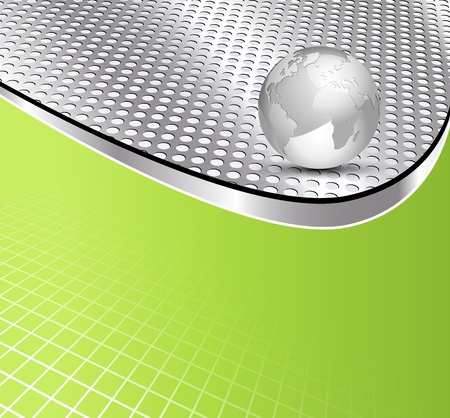 metal grid: Metal grid texture and globe - abstract business brochure background design
