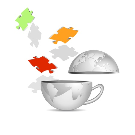 red earth: Globe and puzzle pieces - abstract teamwork icon against white background - business concept