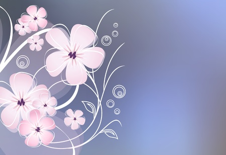 Abstract flower design against blue background Vector