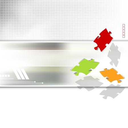 Business-Broschüre - Corporate Design Hintergrund - Werbe-Vorlage - Puzzleteile Illustration