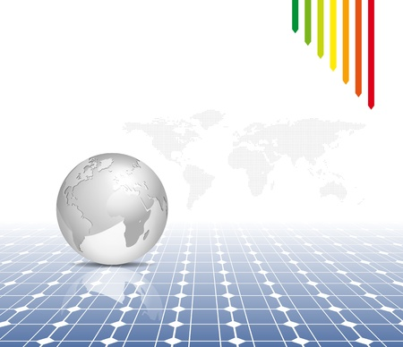 solar symbol: Globe and world map with photovoltaic solar panel - electricity background
